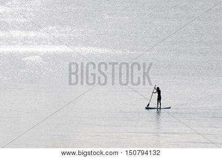 Silhouettes of a stand-up paddle surfer (standup paddleboarding surfer) girl in the sea at dawn