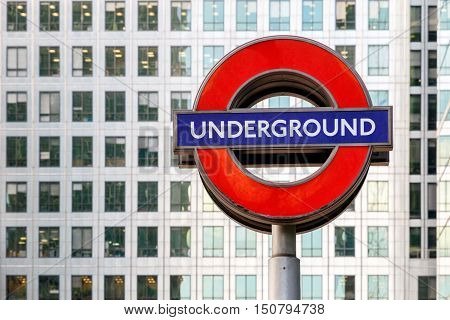 London UK - September 21 -2016 - London underground sign in Canary Wharf financial district of London
