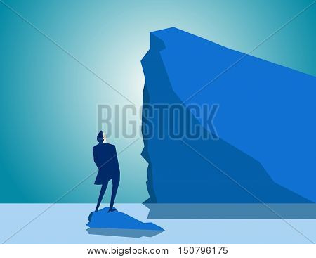 business Adversity staring at iceberg. Concept business illustration. Vector flat