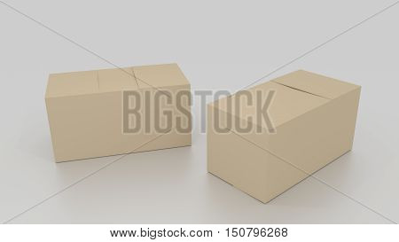 Two Closed 3D Empty Brown Cardboard Box, Ready To Be Send On White Background. Rendered Illustration