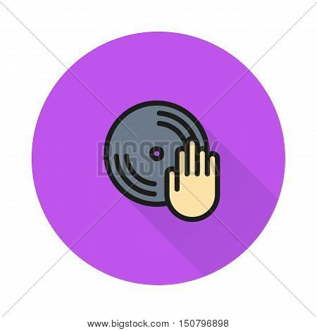 Disc with dj hand icon on round background Created For Mobile Web Decor Print Products Applications. Icon isolated. Vector illustration