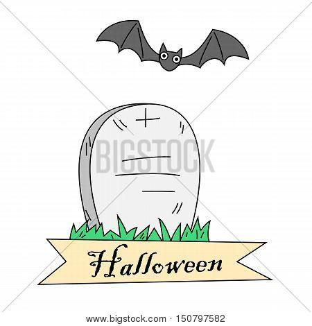 Cartoon gravestone and bat. Halloween banner design