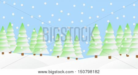 Vector illustration of snowfall in the winter forest.