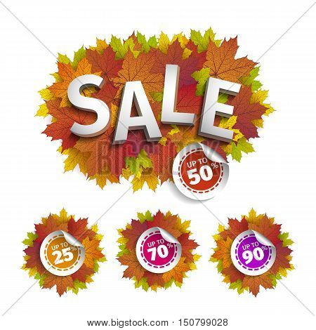 Fall sale design. Autumn discount. Vector fall leaves. Vector fall sale poster illustration. Can be used in business for flyers, banners or posters.