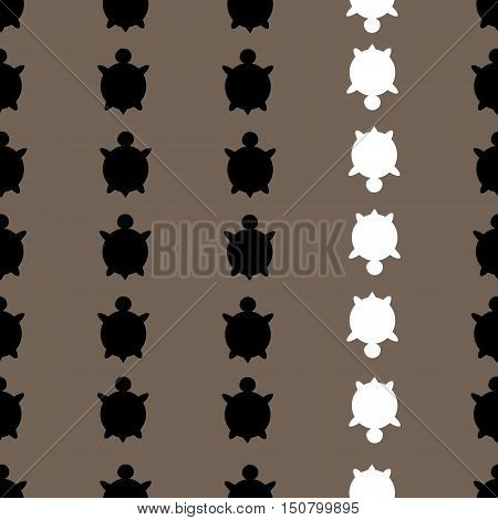 Vector Seamless Colorful Turtle Pattern With Lines Of Turtles In Black And White In Brown Background