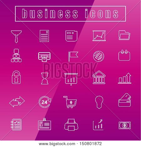 vector icons Business office equipment Thin Line white