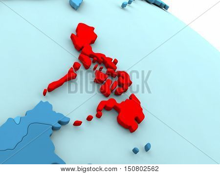 Philippines In Red On Blue Globe