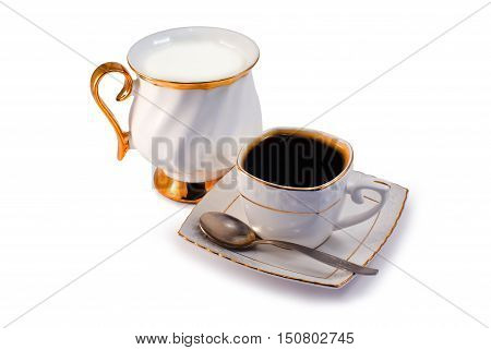 Black Coffee and Milk isolated on white