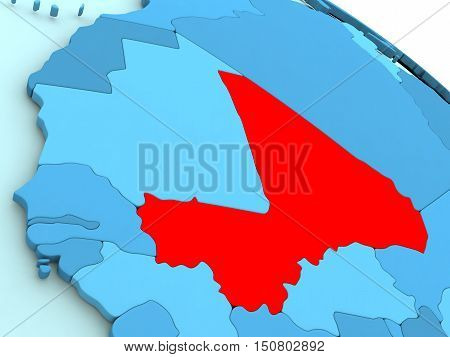 Mali In Red On Blue Globe
