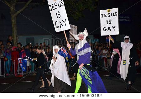 Sydney Australia - March 2 2013. Jesus is Gay. Mardi Gras is an annual event for gay/lesbian acceptance. LGBT pride parade and festival.