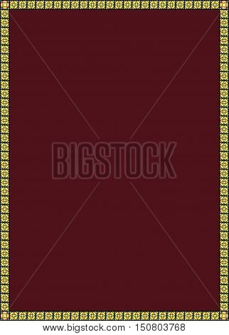 Burgundy background in a yellow box. The wine color. Vector graphics. Burgundy background for text.