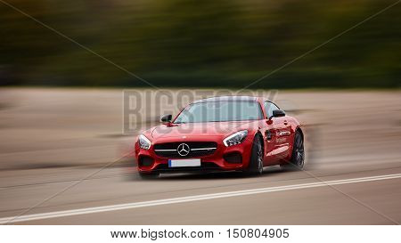 Kiev, Ukraine - OCTOBER 4, 2016: Mercedes Benz star experience. The interesting series of test drives. Presentation the new Mercedes-Benz GTs AMG