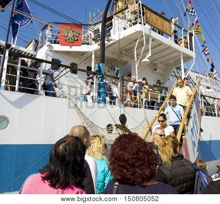 VARNA BULGARIA - OCTOBER 1 2016: opening of Black Sea Tall Ships Regatta visitors come on board of Russian ship