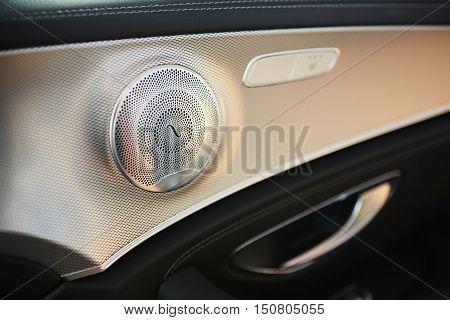 Elegant luxury car door interior. Shallow dof
