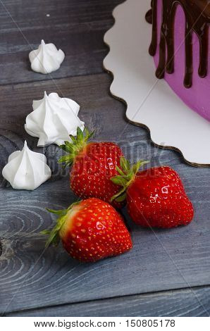 Wedding Anniversary Cake With Strawberries And Chocolate Decoration