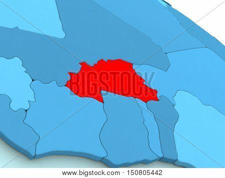 Burkina Faso In Red On Blue Globe
