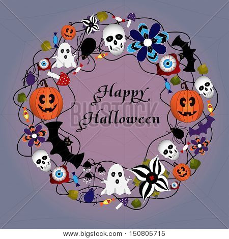 Halloween card with hand drawn elements: web, leaves, pumpkin, skull, bat, spider, ghost, mushroom and others. EPS 10.