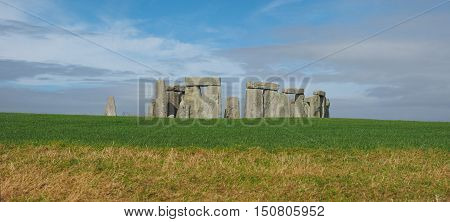 AMESBURY UK - CIRCA OCTOBER 2016: Ruins of Stonehenge prehistoric megalithic stone monument - High resolution wide panoramic view