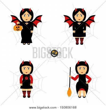 Vector set for Halloween in cartoon style.Girl in costumes. Girl bat.