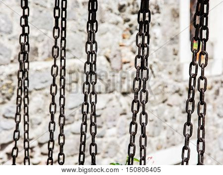 Metal chain scene. Industrial theme. Old object.