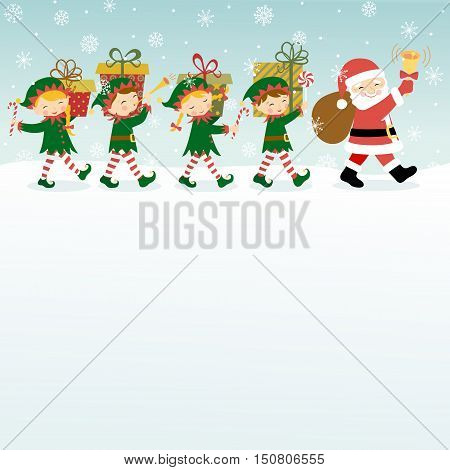 Christmas background with Santa Claus, elves and copy space.