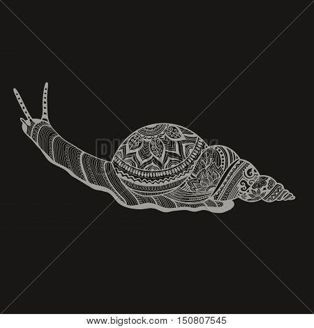 Hand drawn doodle vector outline snail illustration decorated with abstract ornaments. Abstract mobochrome snail drawing.