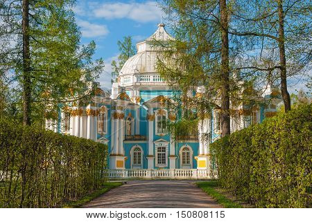Hermitage - park pavilion in Baroque style in Catherine park in Tsarskoye Selo (Pushkin). Erected in 1744-1754 by architects Kvasov, Chevakinsky and Rastrelli. Russia, Saint-Petersburg, Tsarskoye Selo. May 9, 2016