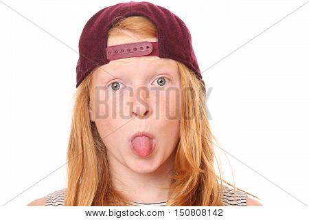 Portrait of a naughty young girl on white background