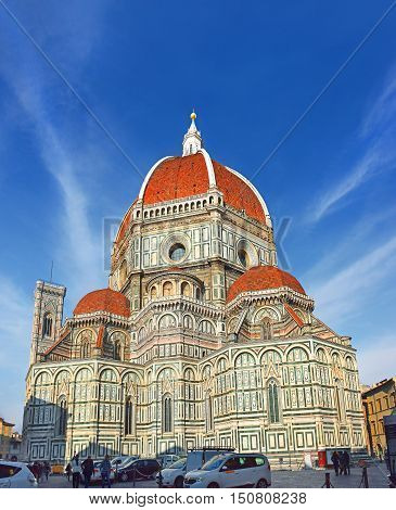 FLORENCE, ITALY - January 22, 2016: cathedral Santa Maria del Fiore (Duomo) , Florence, Tuscany, Italy