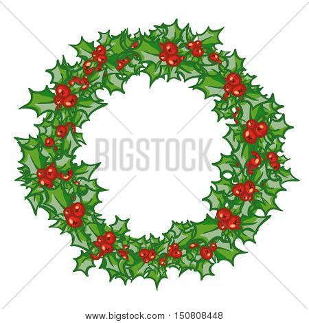 Holly Wreath, round frame. hand drawn background, design element for Christmas and New Year greeting card or banner. Holly with berry, isolated on white