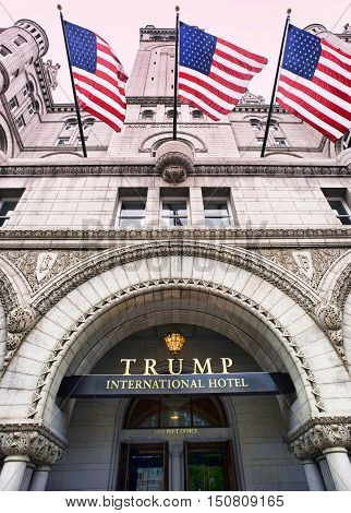 Washington DC. Oct. 6 2016 : Donald Trump International Hotel built in the old Pennsylvania Ave Post Office.