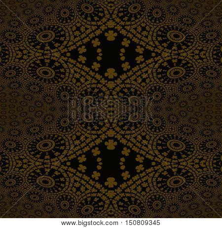 Abstract geometric seamless background. Regular golden ornaments with concentric circles and diamond pattern on black, ornate and dreamy.