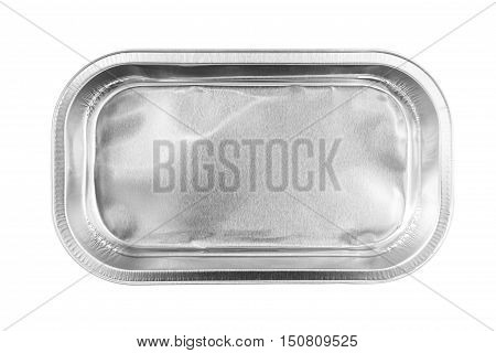 Rectangular Aluminum Foil Tray top view isolated on white background