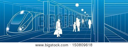 Subway station, people with things got off the train, city scene, transport illustration, white lines on blue background, vector design art