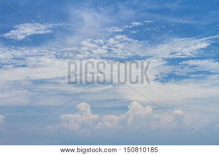 Blue sky with clear clouds summer background