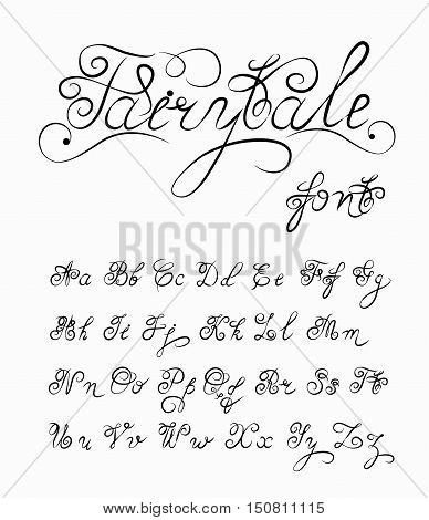 Fairytale, Vector hand drawn calligraphic font. Handmade calligraphy tattoo alphabet. Quote text. ABC.English lettering lowercase, uppercase. Script vintage handcrafted retro letters