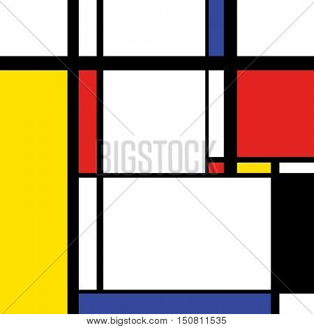 Abstract modern painting in mondrian style square illustration