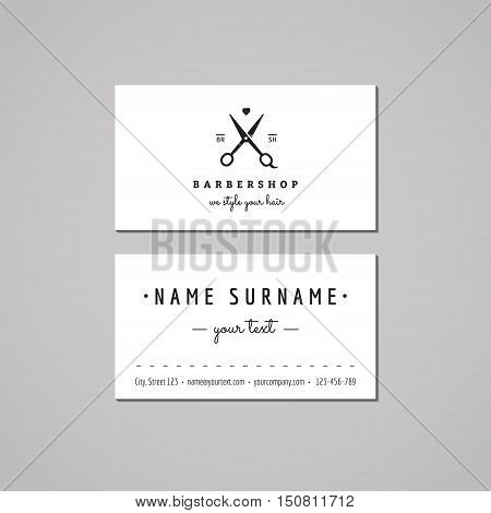 Barbershop (hair salon) business card design concept. Logo with scissors and heart. Vintage hipster and retro style. Black and white.