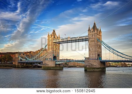 Tower Bridge at dusk, London, UK