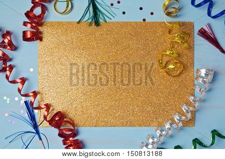 Golden glitter party background. View from above
