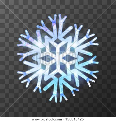 Colorful icy snowflake with bright light and reflections on transparent background