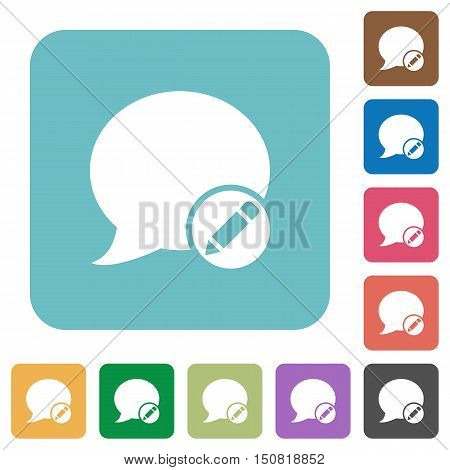Flat Moderate blog comment icons on rounded square color backgrounds.