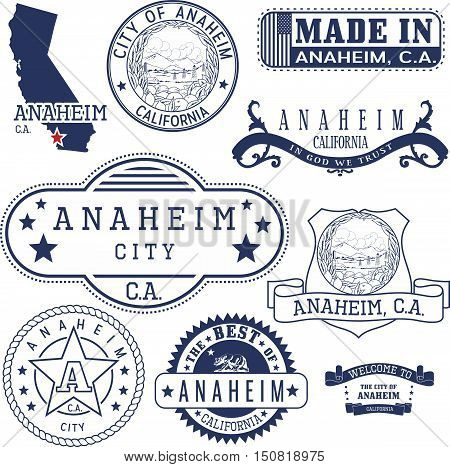 Generic Stamps And Signs Of Anaheim City, Ca