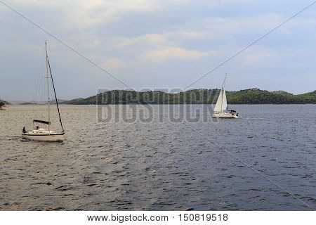 NATIONAL PARK KORNATI, CROATIA - SEPTEMBER 7, 2016: This is sailing regatta of the coast of the Kornati archipelago in the evening.
