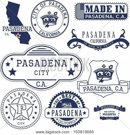 Pasadena City, Ca. Stamps And Signs