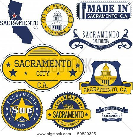 Generic Stamps And Signs Of Sacramento City, Ca