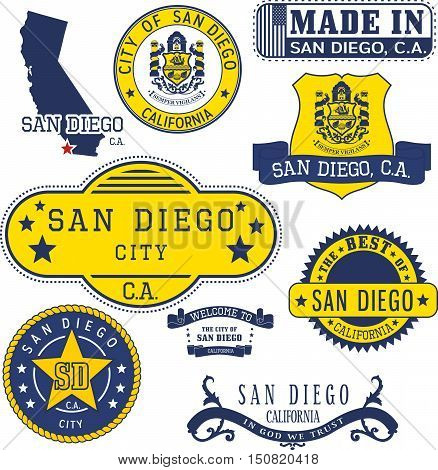 Generic Stamps And Signs Of San Diego City, Ca