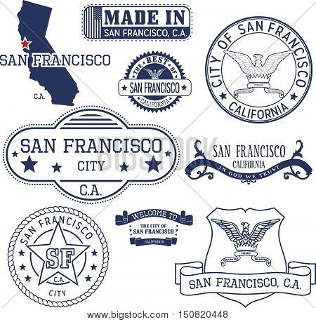 Generic Stamps And Signs Of San Francisco City, Ca