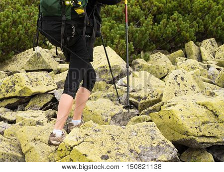 Woman hiking in mountains adventure and exercising. Legs and nordic walking poles in summer nature. Young fitness woman legs walking on mountains hike. Close-up of shoes and trekking poles on a background of mountains