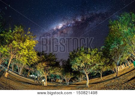 Camping Under Starry Sky And Milky Way Arc, With Details Of Its Colorful Core, Outstandingly Bright,